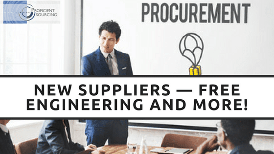 New Suppliers — Free Engineering and More!