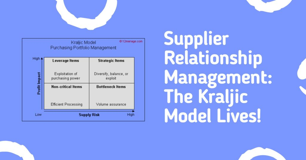 Supplier Relationship Management:  The Kraljic Model Lives!